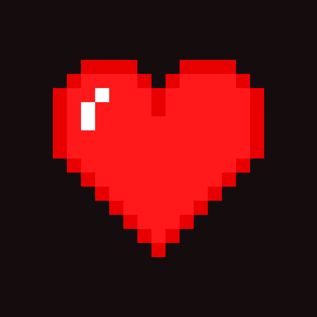 Pixel art heart isolated on dark background