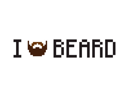 8 bit: I love beard phrase with pixel art beard for t-shirt or poster
