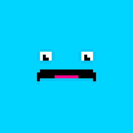 pitiful: Pixel art sad face blue background Illustration