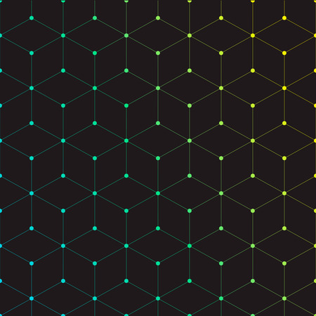 rhombus: Dots connected with lines, geometric background with cubes with gradient color Illustration
