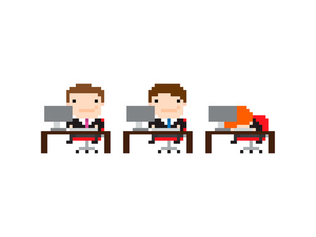 denial: Pixel art background with office workers with one sleeping on the table at work