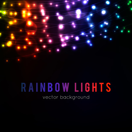 Abstract background with glowing rainbow lights