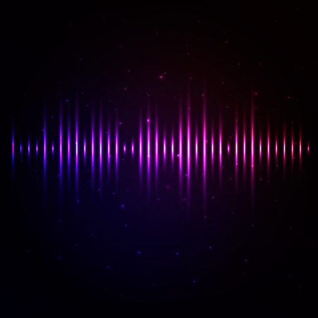 Vector background with glowing equalizer lines