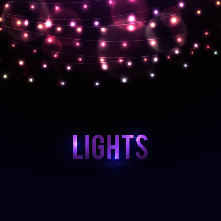 string: Many glowing lights on strings, background with garlands and place for text