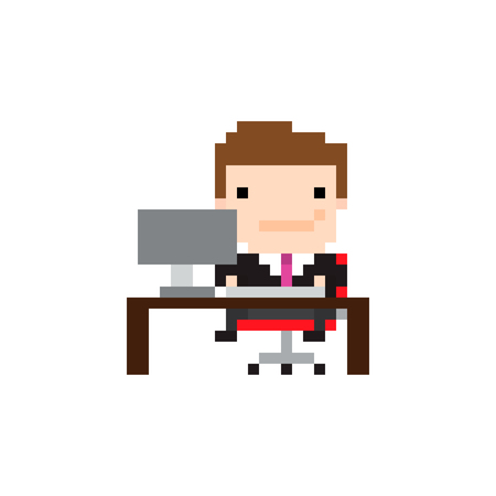 8 bit: Pixel art guy sitting in front of the computer at work