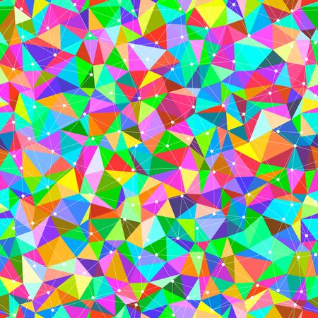 bright: Vector seamless background with bright triangles and dots connected with lines