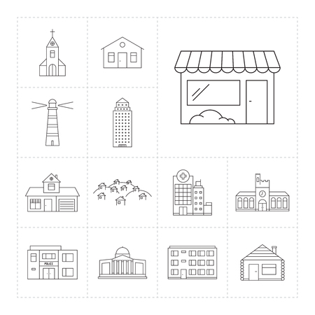 hotel hall: Set of outline icons  with different buildings Illustration