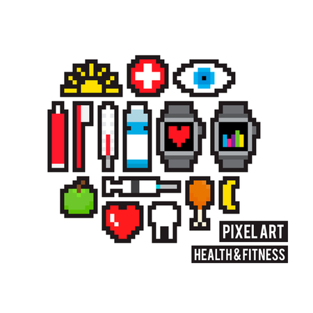 Set of pixel art health and fitness icons Illustration