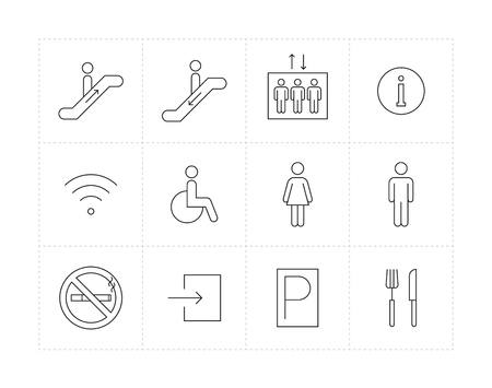man and women wc sign: Thin line public signs icon set