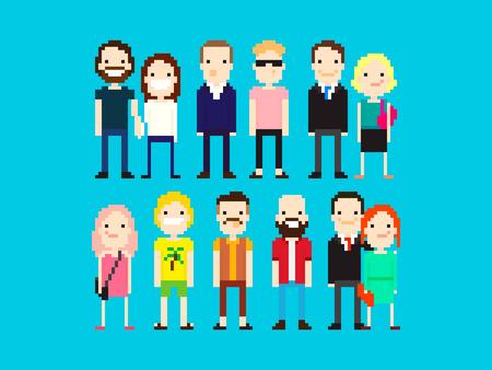 enamorados caricatura: Conjunto de diferentes personajes pixel art