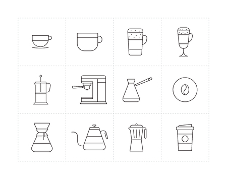 different ways: Set of thin line icons with different coffee beverages and ways of preparing