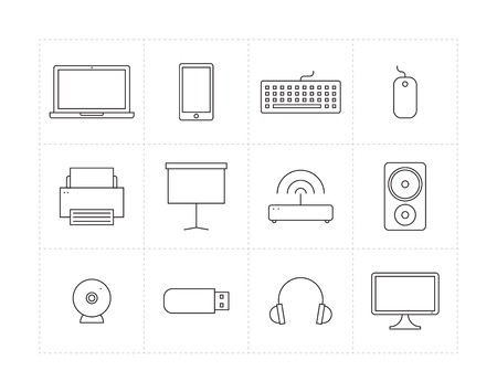 multifunction printer: Set of thin line icons of different electronic devices