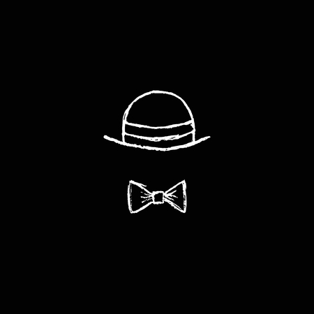 monopoly: Black background with pencil hand drawn hat and bow tie