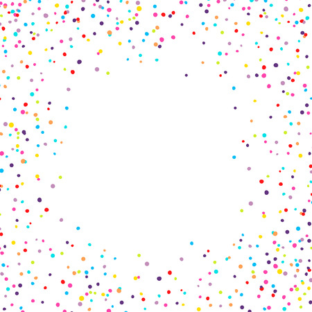 Vector background with confetti tiny round pieces on the sides