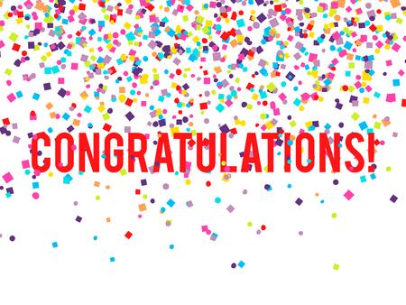 congratulations: Felicitaciones Vector de fondo con la caída de confeti