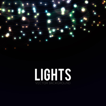 Many glowing lights on strings, background with garlands and place for text