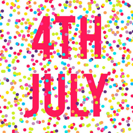 reddish: Vector background with reddish pink fourth of July text and bright different colored confetti on white background Illustration