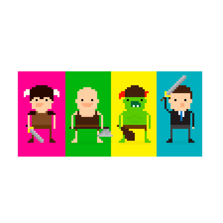 grunt: Pixel art 8-bit game characters in battle stances