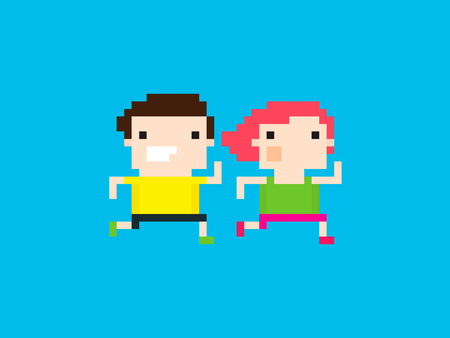 pixel art: Pixel art characters, male and female, running together