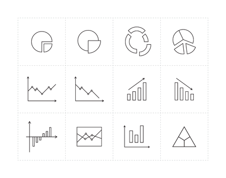 quarters: Thin line icon set with different diagrams Illustration