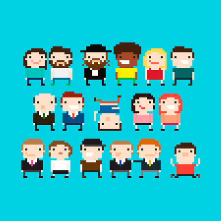 man begging: Different pixel art people characters