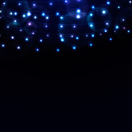 string: Many glowing blue lights on strings, background with garlands and place for text
