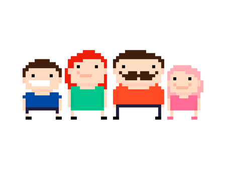Pixel art family with mother, father, son and daughter