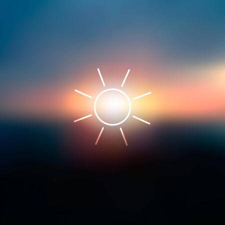Abstract blurred morning background with outline rising sun