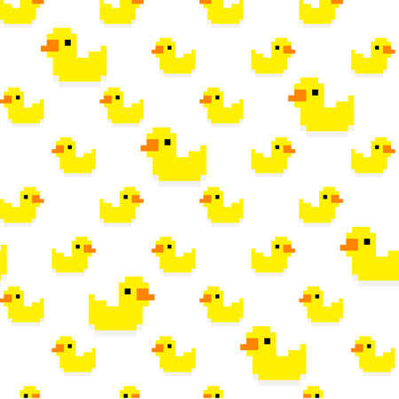 duckie: Seamless pattern with many pixel art yellow bath ducks on white background Illustration
