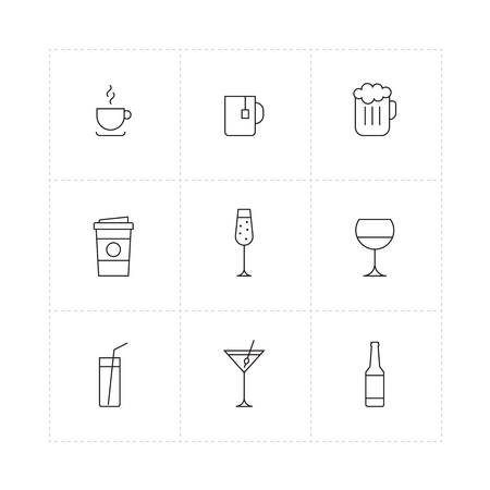 Nine outline icons of different drinks