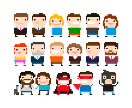 Different pixel art 8-bit people characters 矢量图像