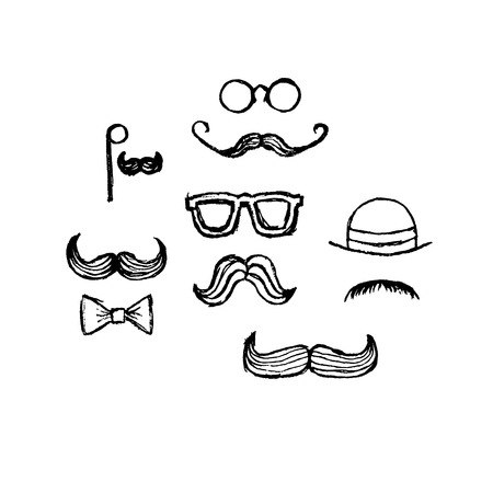 sideburns: Pencil hand drawn different moustaches, sunglasses, hat, butterfly tie Illustration