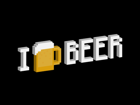 alcohol logo: I love beer phrase with pixel art beer mug for t-shirt or poster