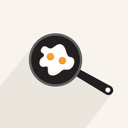 sunny: Fried eggs in a frying pan, flat icon with long shadow isolated on light background