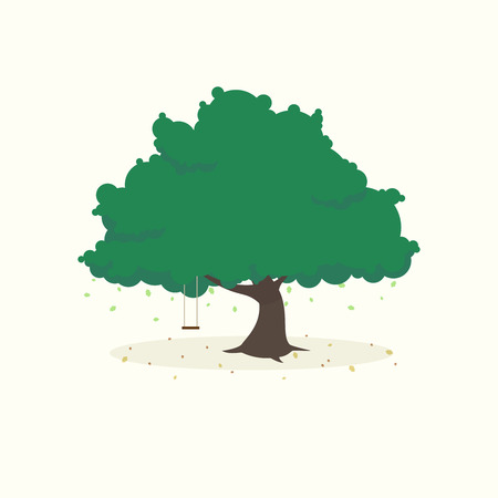 tree silhouette: Flat icon of tree with fallinf leaves and swing, isolated on light background