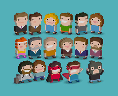 Different 3d pixel art 8-bit people characters Stock Illustratie