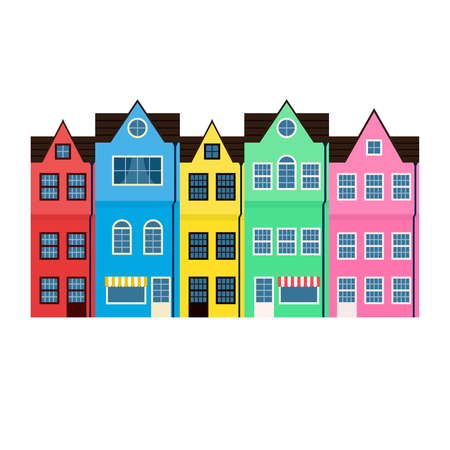 hilera: Casas de colores brillantes en una fila aislados sobre fondo blanco