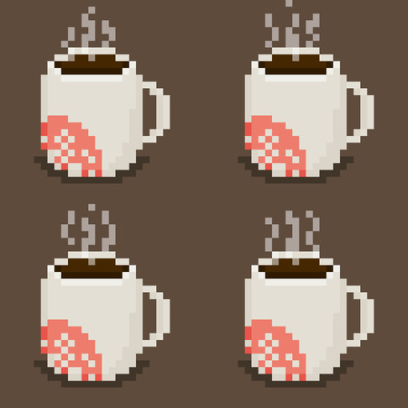 Pixel art mug  sheet with steam animation, four cups on brown background