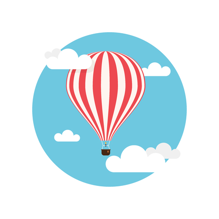 in the basket: Hot air balloon, red and white stripes colored, flying in the clouds, flat background