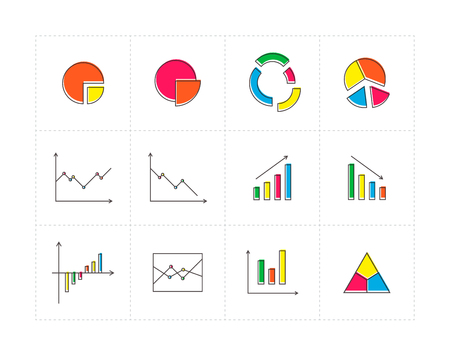 quarters: Thin line colored icon set with different diagrams