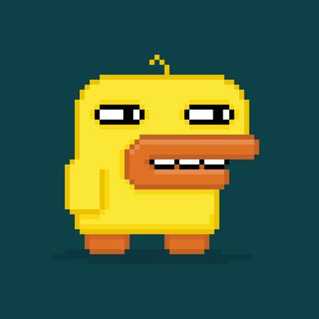 rubber  duck: Pato divertido del arte del pixel aislado en fondo oscuro
