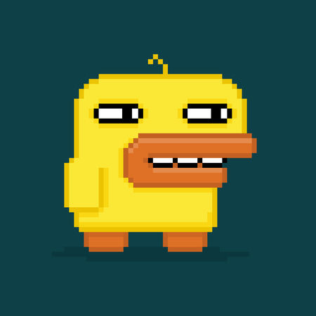 Funny pixel art duck isolated on dark background