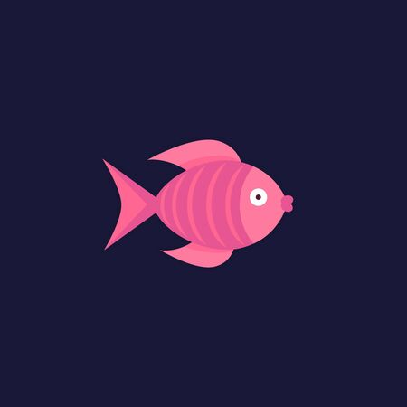funky: Fish flat icon isolated on dark blue background Illustration