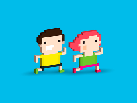 Pixel art characters, male and female, running together