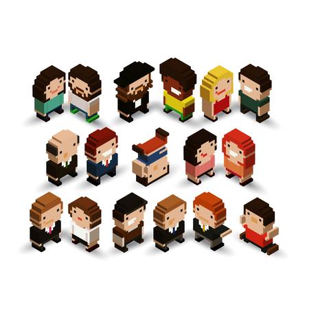 Group of isometric pixel art characters