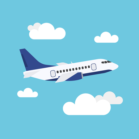 Flat icon of flying airplane with clouds on blue background