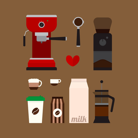 grinder: Set of flat icons with coffee espresso machine, grinder, french press, cups and other objects