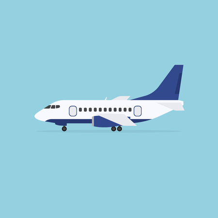staying: Airplane staying on the ground, isolated on blue background