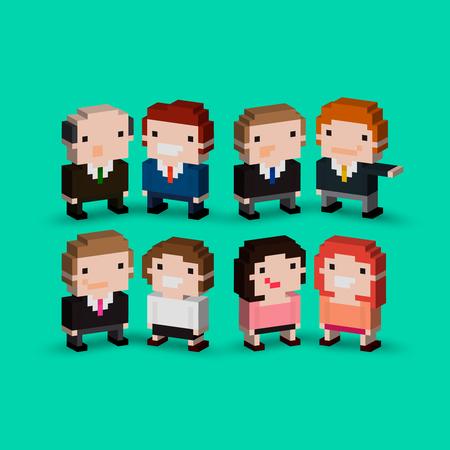 Grupo De Los Personajes De Oficina Pixel Art Isométrico ...