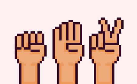 Pixel art hands showing rock paper scissors game gestures Vectores